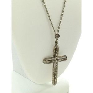 Jewelry - Antique Sterling Silver Pave Marcasite Cross